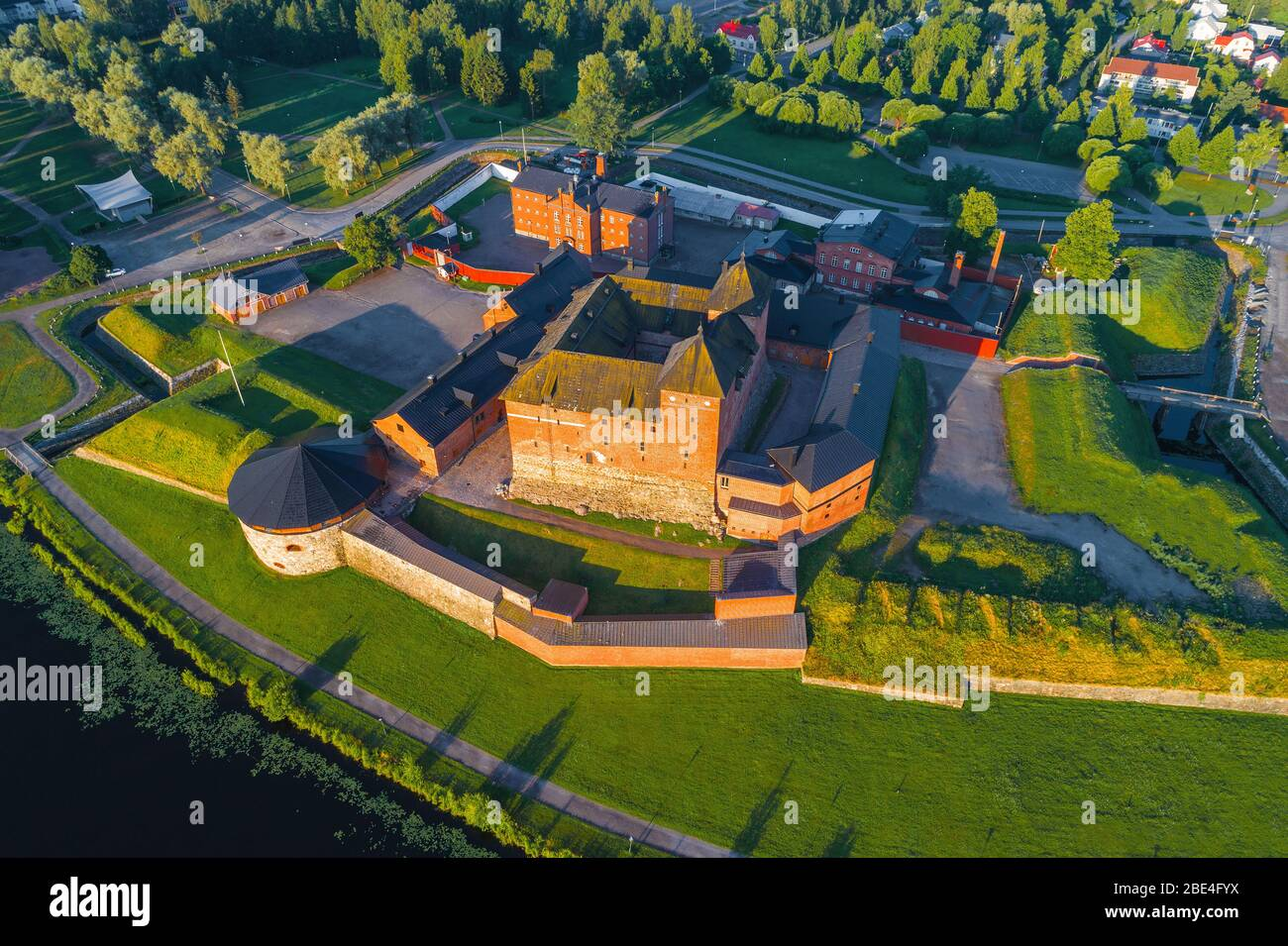 Top view of the old fortress of Hameenlinna on a sunny July morning. Finland Stock Photo