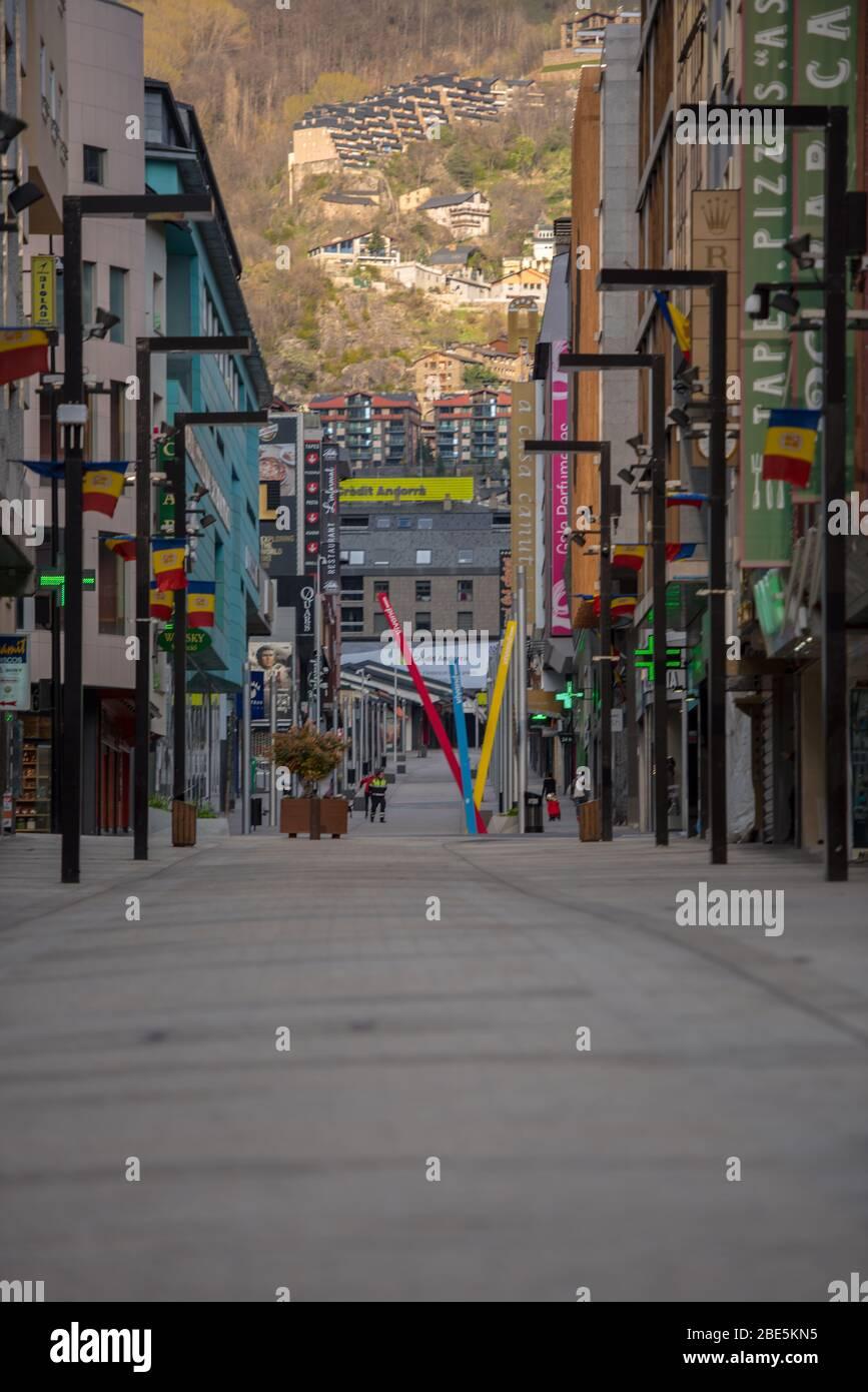 Andorra La Vella : 2020 April 11 : Andorra city center La vella, the capital of Andorra, all closed due to confinement by the COVID-19 virus, in the a Stock Photo