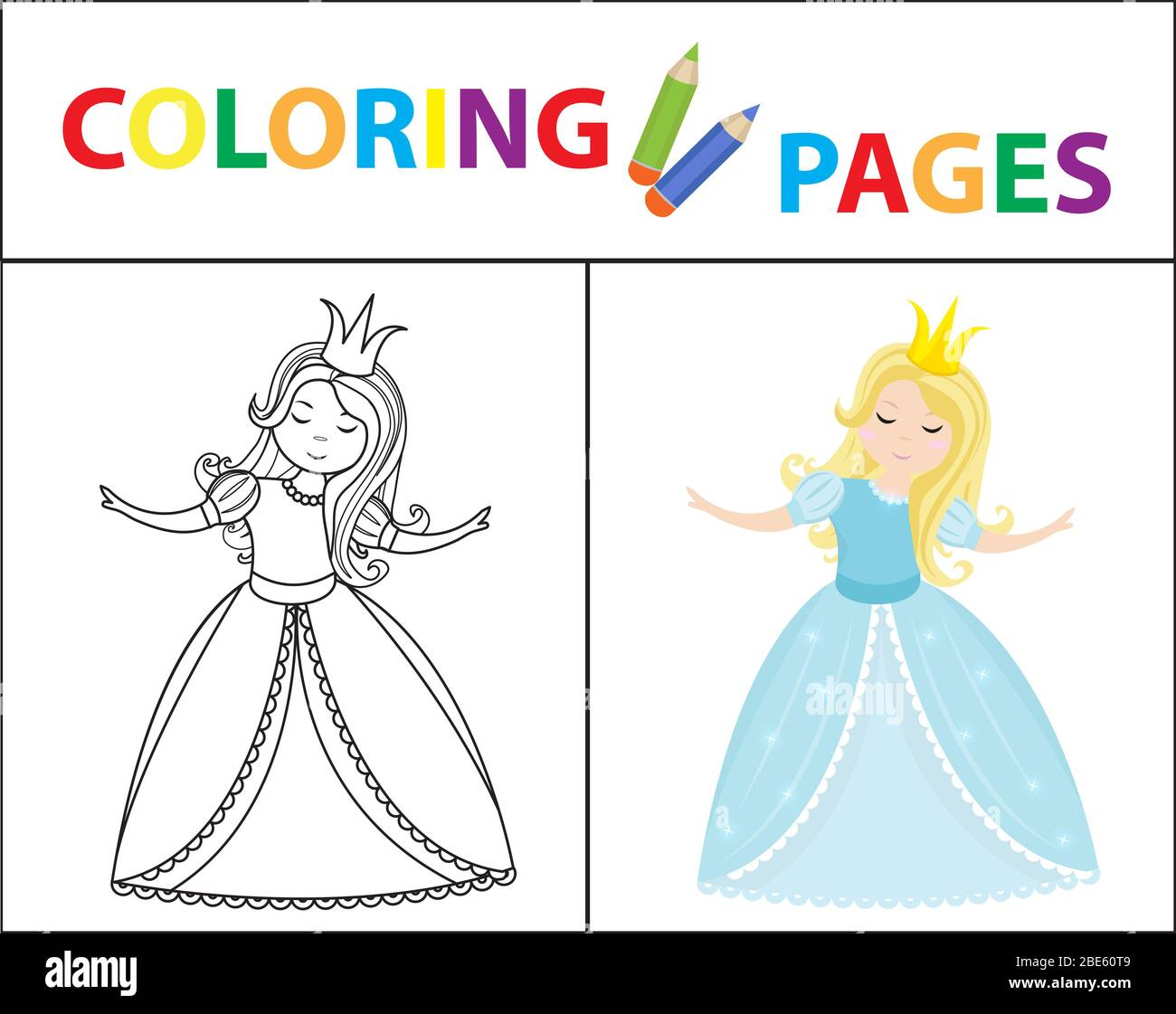 - Coloring Book Page For Kids. Cinderella Little Princess. Sketch