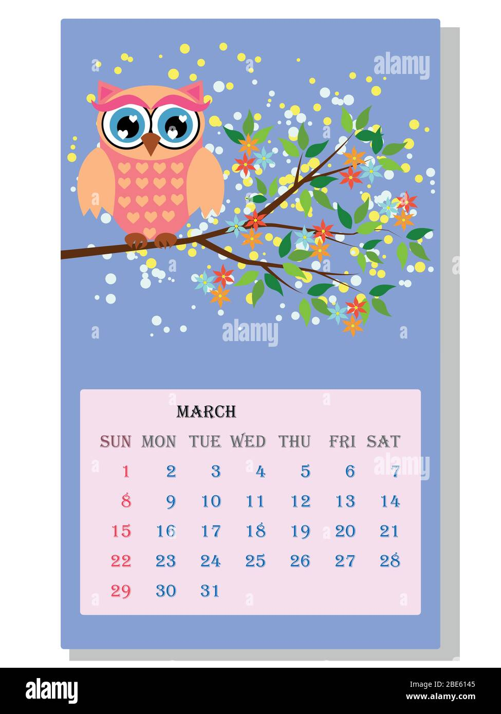 Owl Calendar 2021 Calendar 2021. Cute calendar with funny cartoon owls Stock Vector