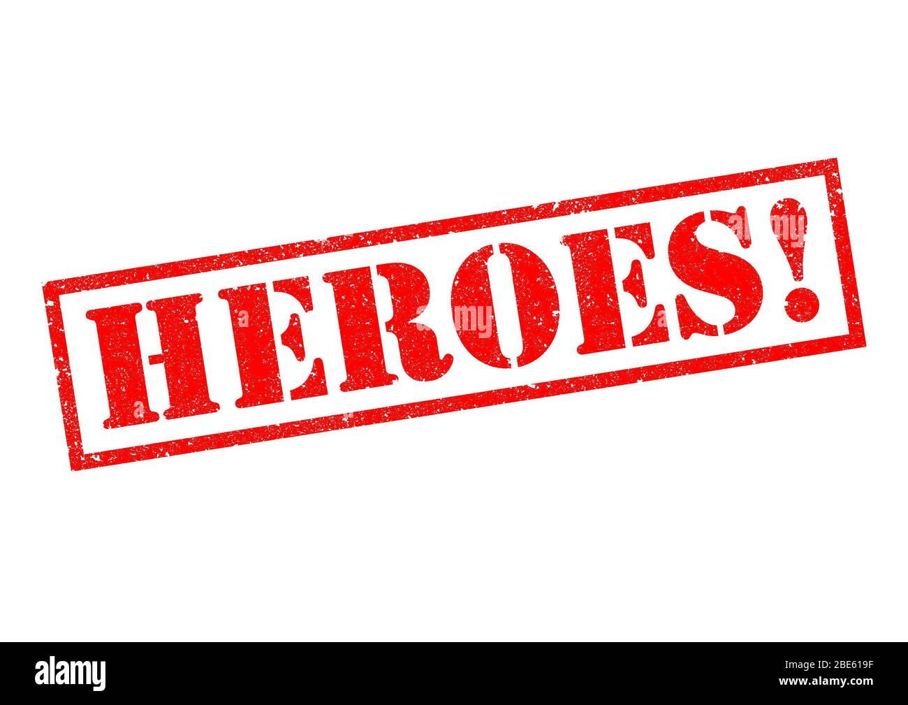 HEROES! red Rubber Stamp over a white background. Stock Photo