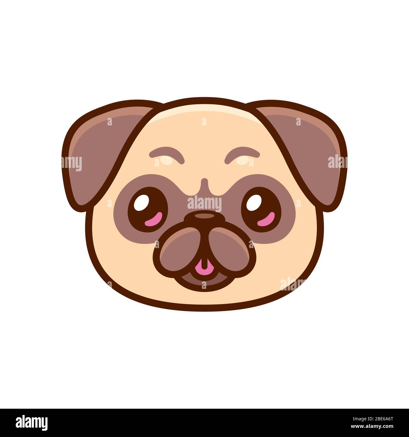 Cute Cartoon Pug Face With Tongue Sticking Out Kawaii Dog Portrait Drawing Vector Clip Art Illustration Stock Vector Image Art Alamy