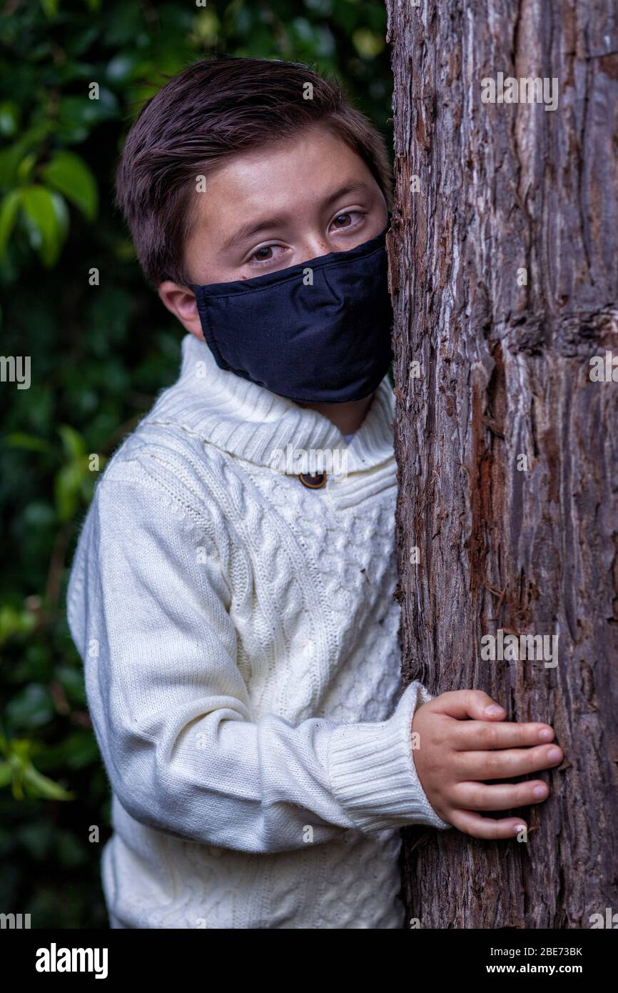 Mixed race boy with brown hair wearing a black dusk protective Covid-19 mask hiding behind a tree trunk Stock Photo