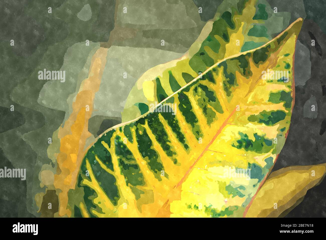Watercolor painting illustration with green botanical garden ...