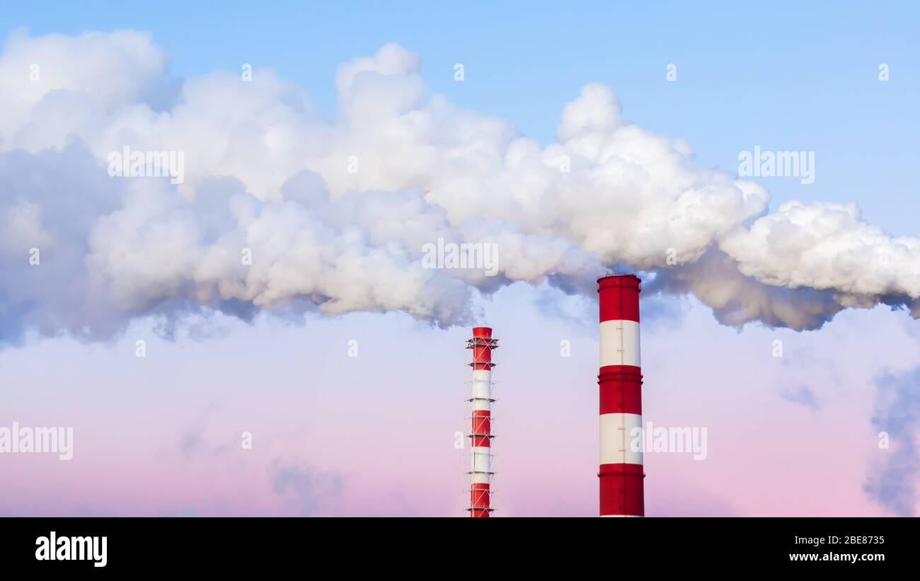 Striped chimneys emit thick white smoke in the evening blue pink sky. Air pollution, environmental problems. Tall pipes against the backdrop of a beau Stock Photo