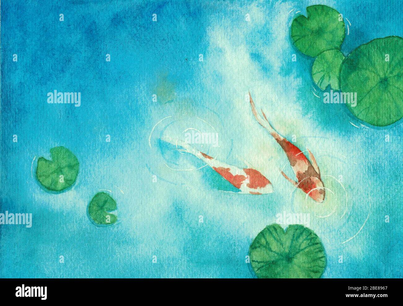 Watercolor Hand Painting Two Koi Carp Fish In A Pond The Symbol Of Good Luck And Prosperity Stock Photo Alamy