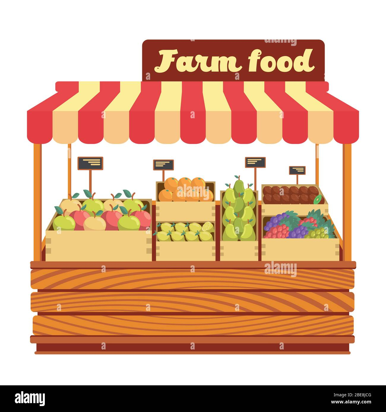 Market wood stand with farm food and vegetables in box vector illustration. Wood market stand with fresh organic fruits Stock Vector