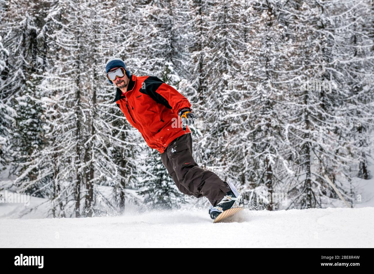 Snowboarder in La Thuile, Aosta Valley, Italy Stock Photo