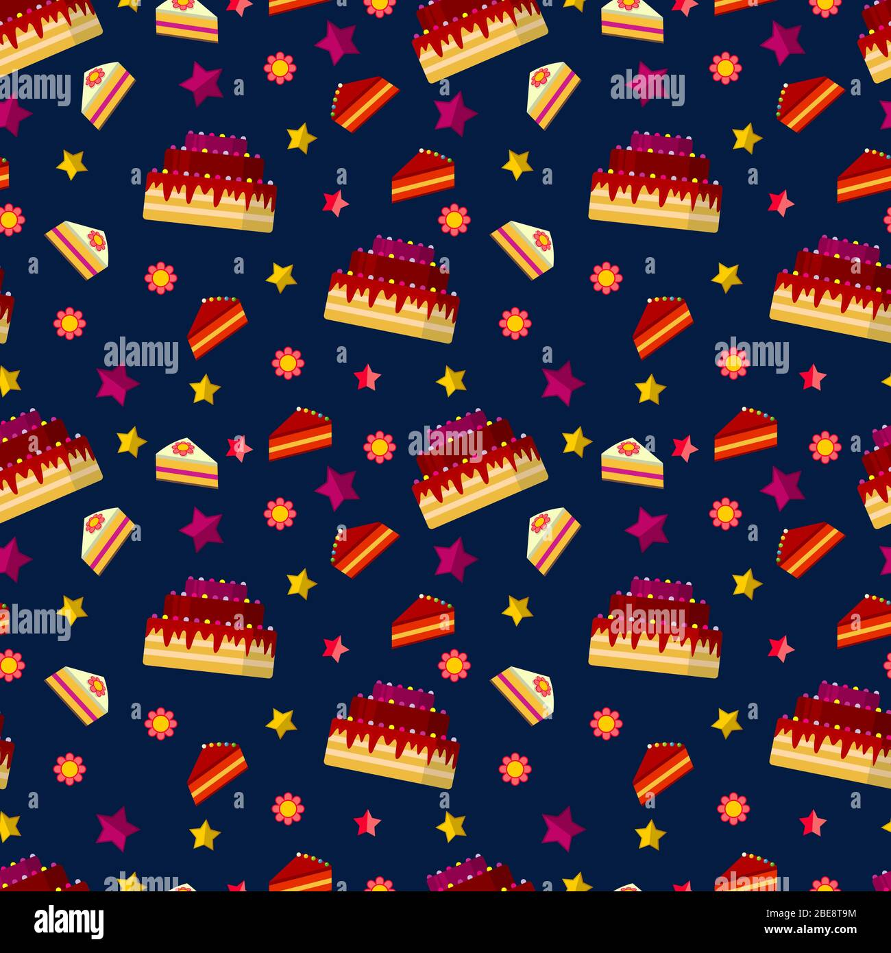 Terrific Colorful Birthday Cakes Seamless Pattern Party Celebration Funny Birthday Cards Online Fluifree Goldxyz