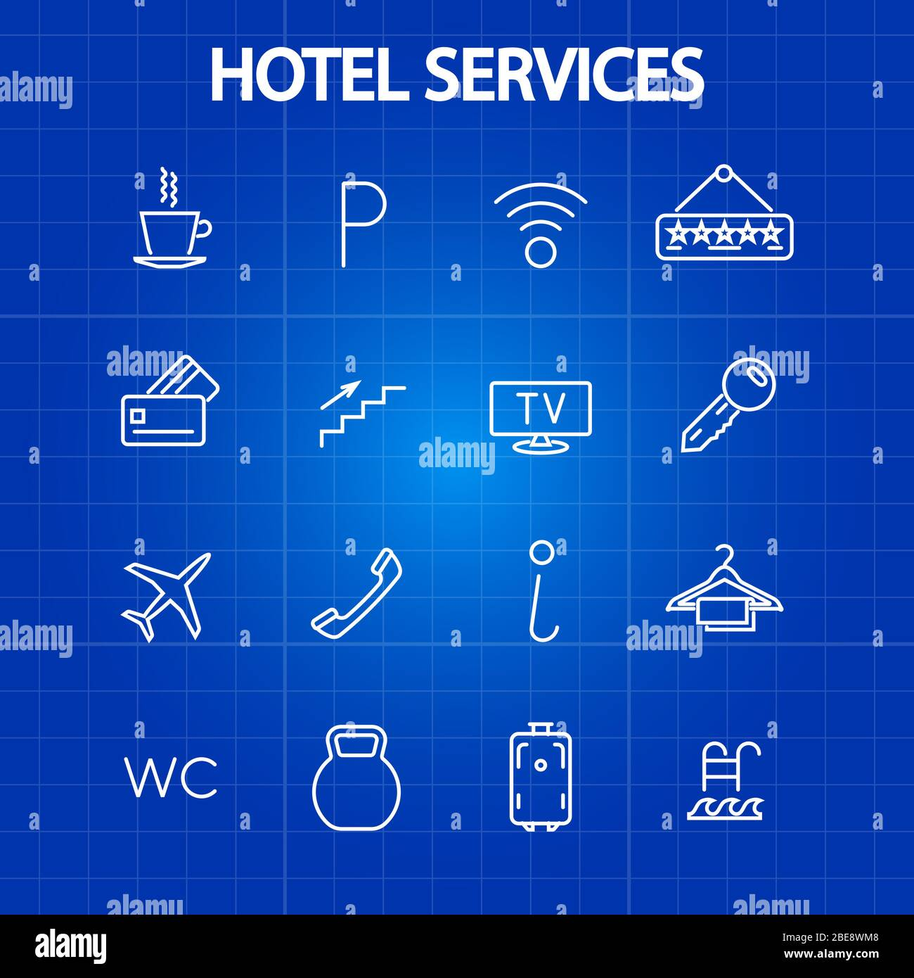 Hotel services thin line icons. Tourism and vacation symbol. Vector illustration Stock Vector