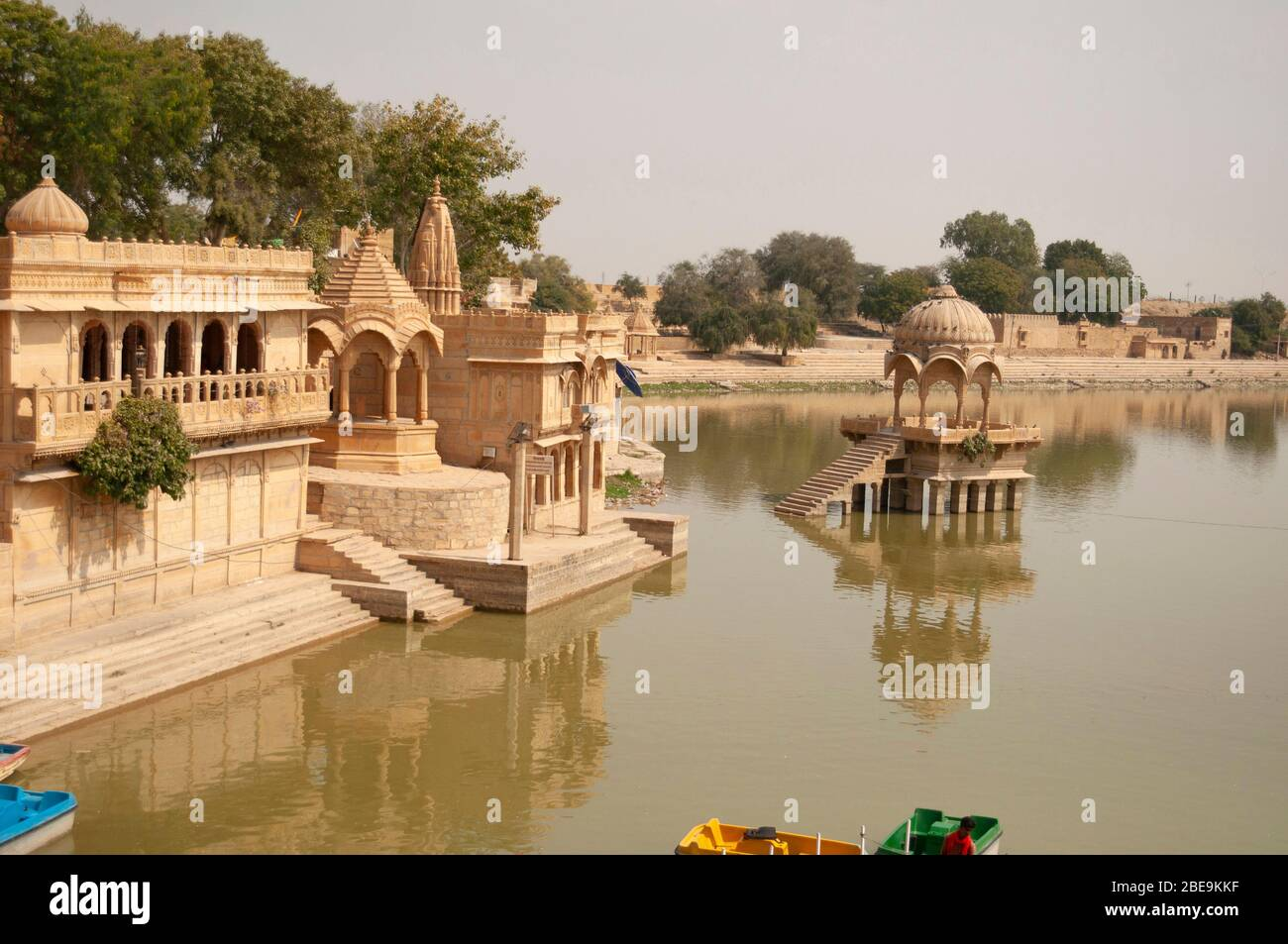 Gadi Sagar temple on Gadisar lake,  Jaisalmer, Rajasthan, India Stock Photo