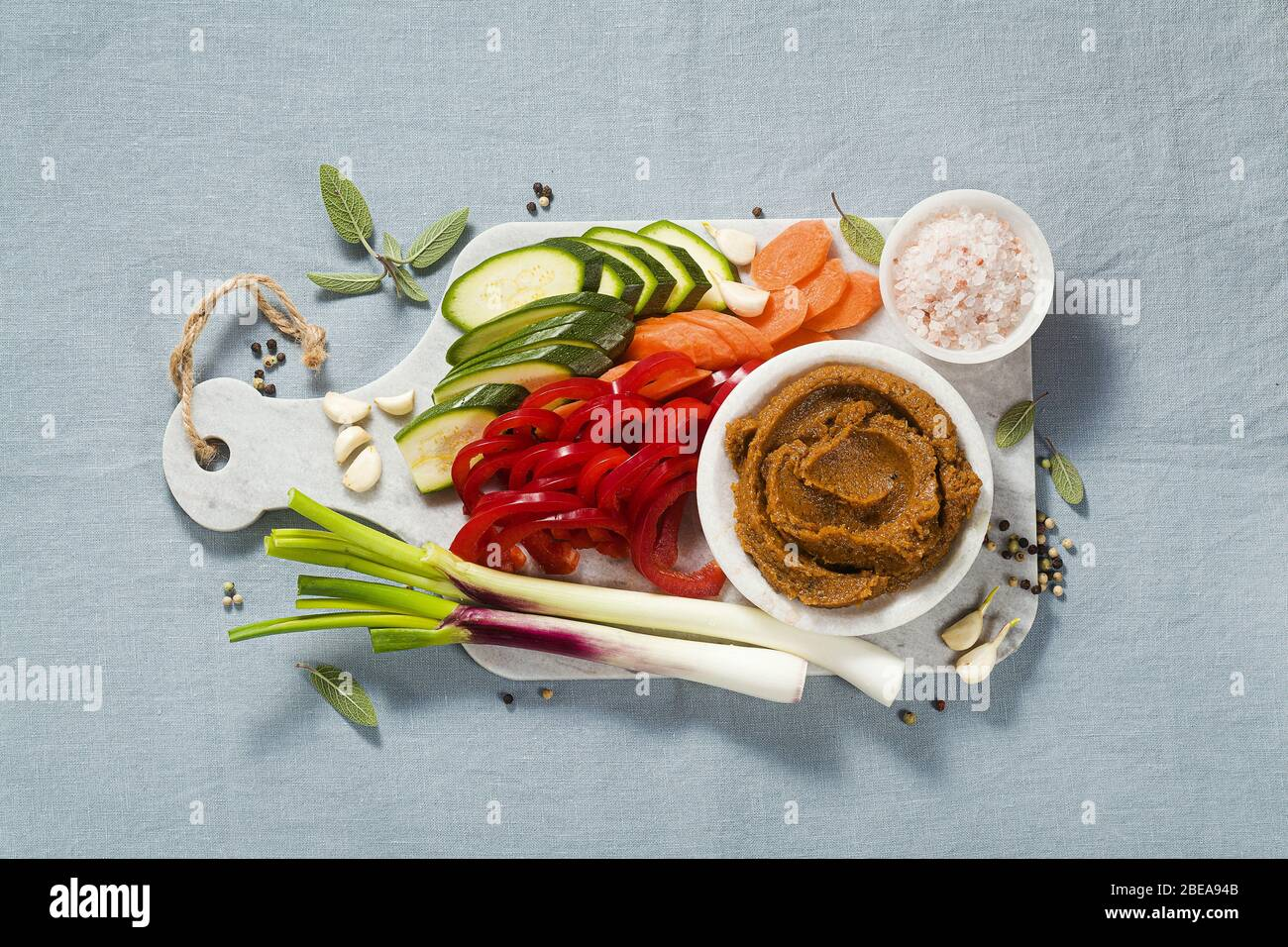 homemade stock in Bouillon cube with fresh vegetables. healthy cuisine Stock Photo
