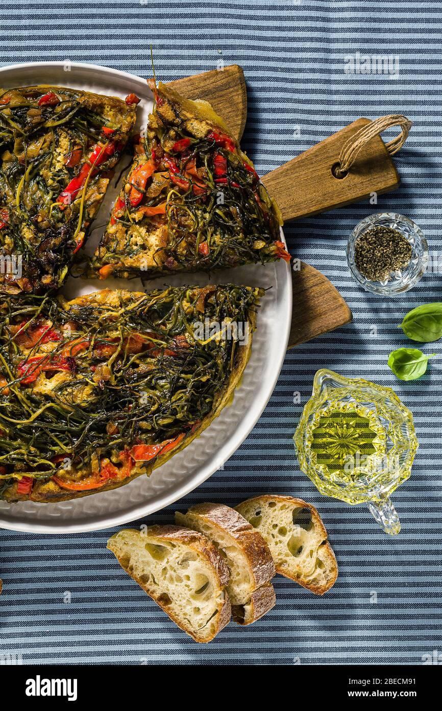 plant-based Italian omelette. healthy vegan cuisine Stock Photo
