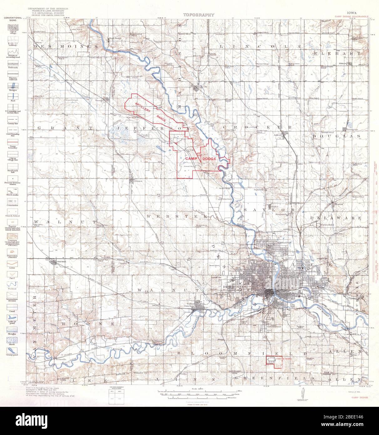 camp dodge iowa map English Camp Dodge Iowa Quadrangle Topographical Map 1918 camp dodge iowa map