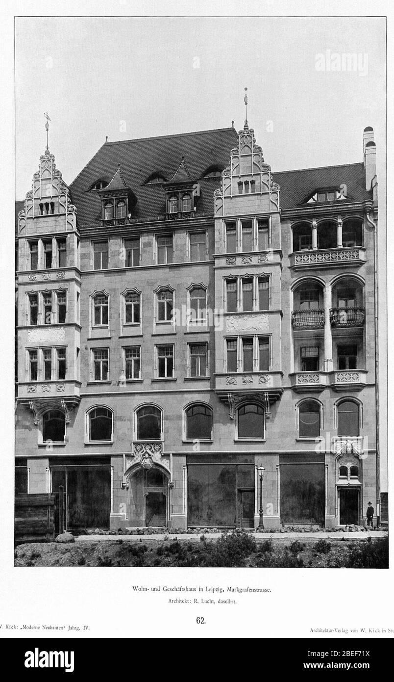 Haus in Leipzig, Markgrafenstrasse Architekt R. Lucht, Leipzig. Stock Photo