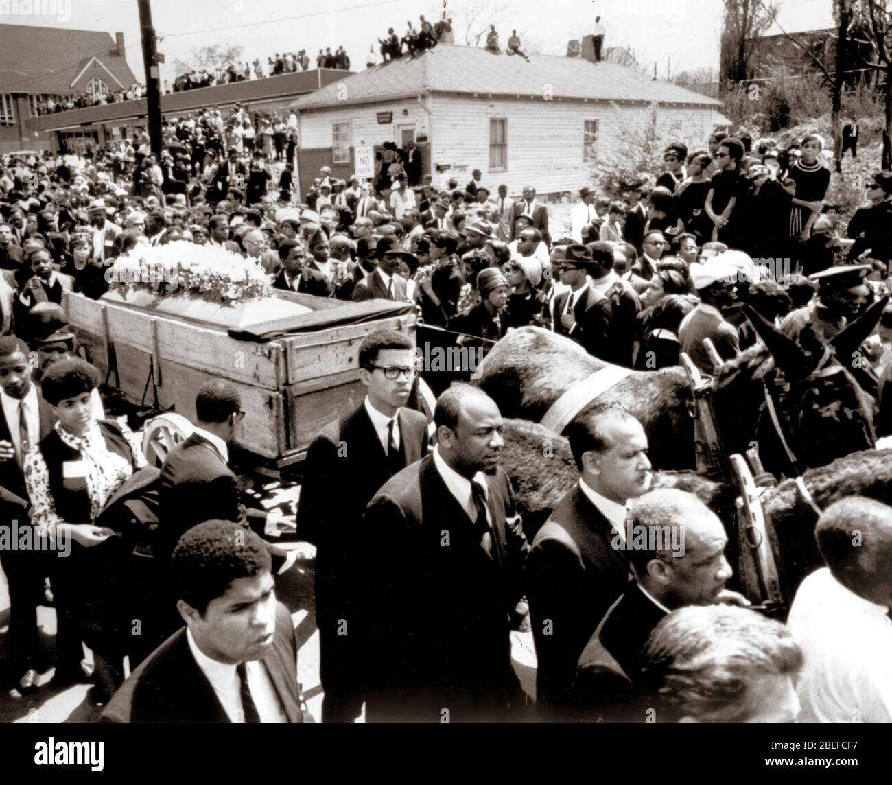 The funeral of slain civil rights minister Martin Luther King, Jr..Martin Luther King Jr. (born Michael King Jr.; January 15, 1929 – April 4, 1968) was an American Christian minister and activist who became the most visible spokesperson and leader in the Civil Rights Movement from 1955 until his assassination in 1968. Stock Photo