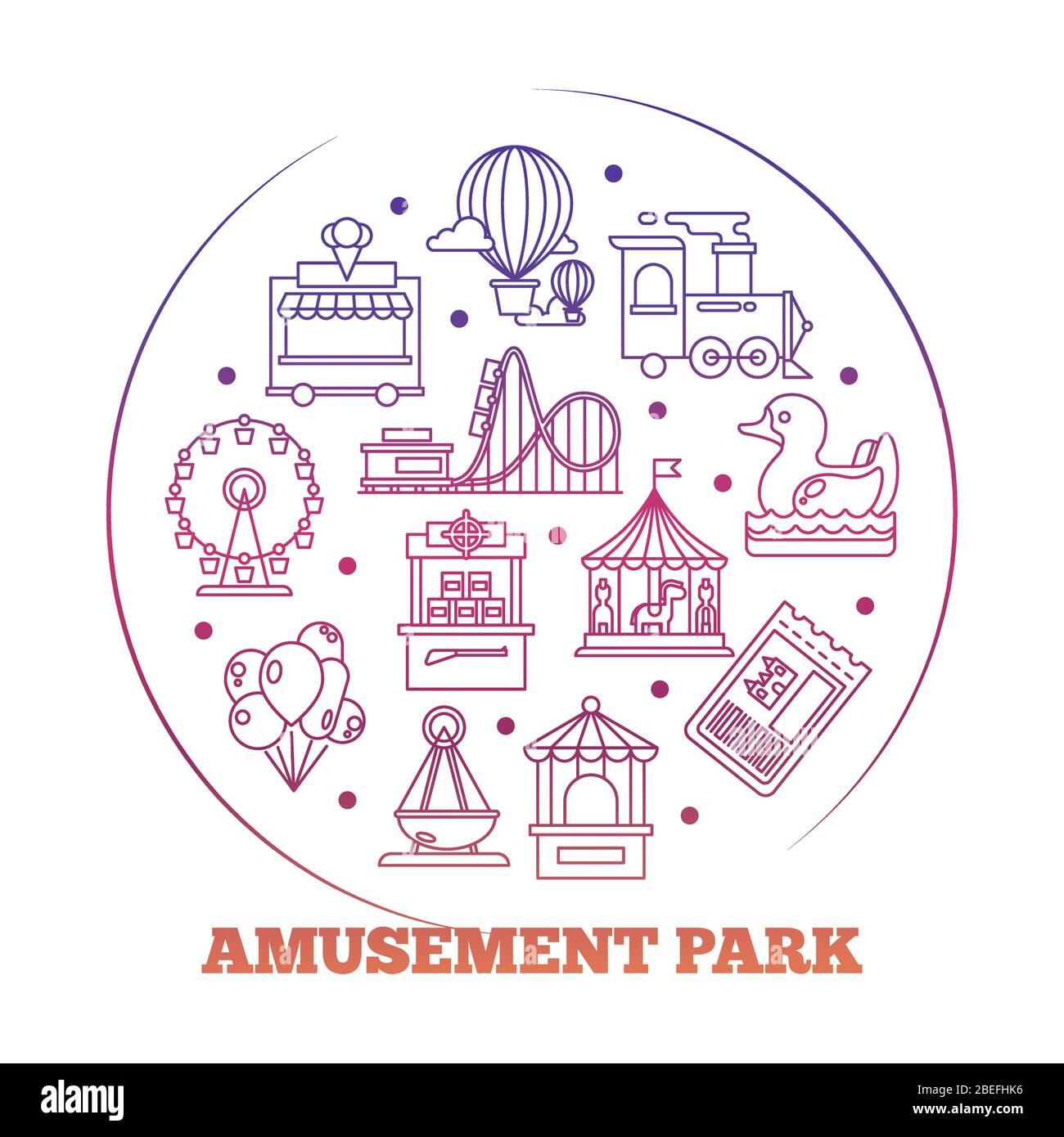 Line Icons Flat Amusement Park Round Logo Design Vector Illustration Stock Vector Image Art Alamy