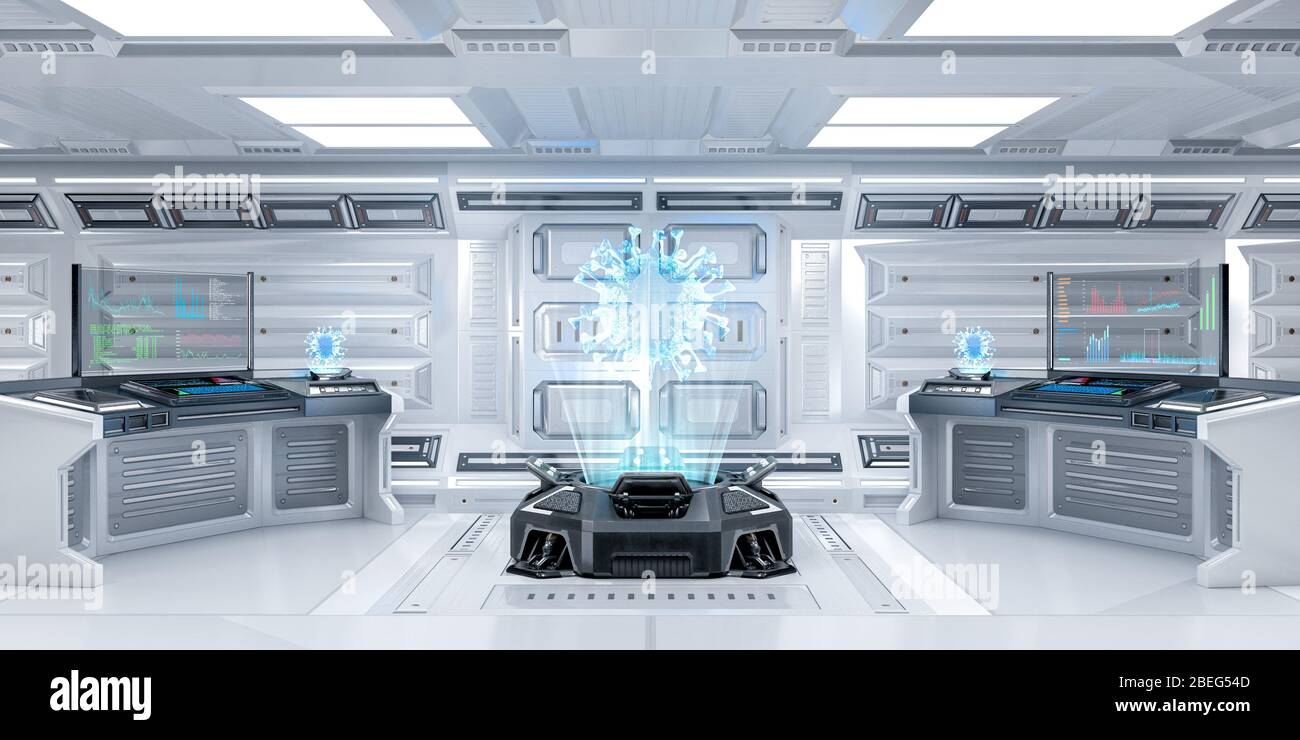 Futuristic Sci-Fi Research room Interior with Hologram Machine Displaying Coronavirus or Covid-19, 3D Rendering Stock Photo
