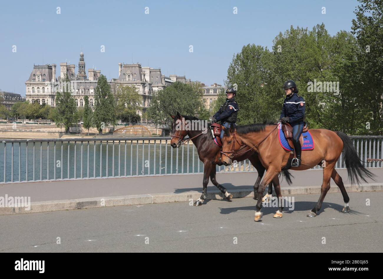 MOUNTED POLICE IN PARIS Stock Photo