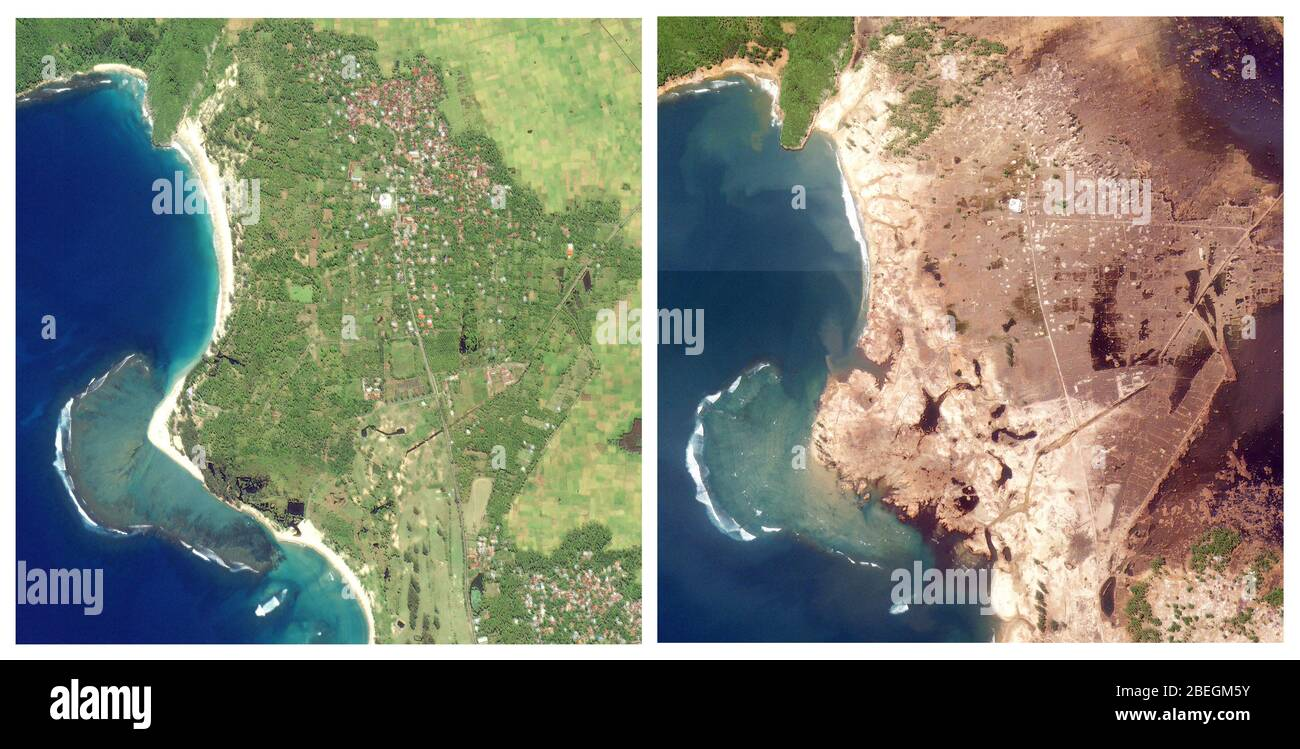 Aceh Indonesia Before And After 2004 Tsunami Stock Photo Alamy