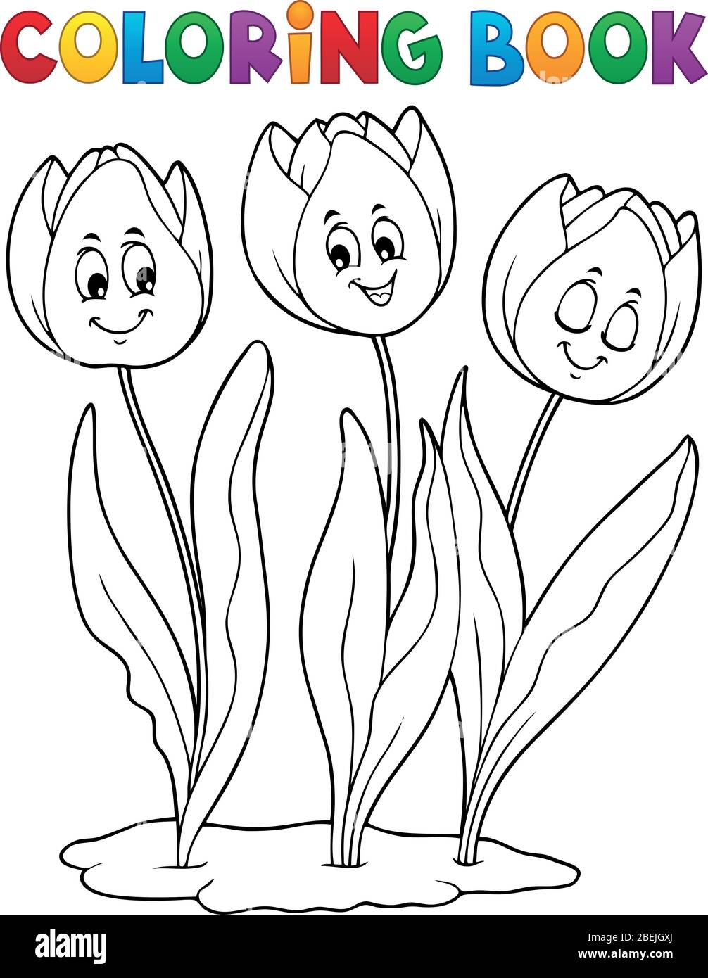 Coloring Book Tulip Flower Image 1 Eps10 Vector Illustration Stock Vector Image Art Alamy