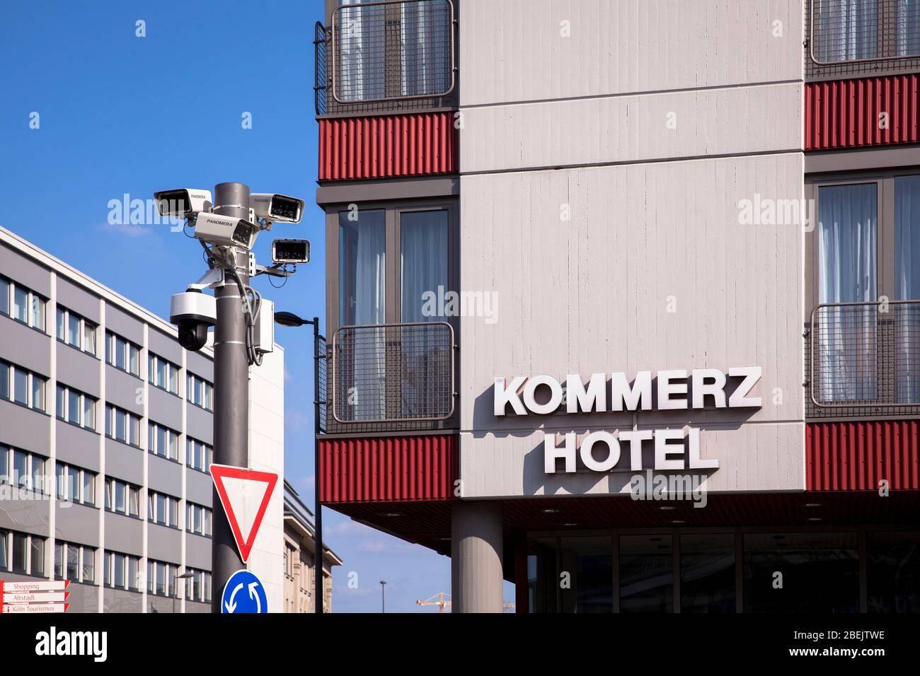 surveillance cameras on the square Breslauer Platz in front of the main station, Cologne, Germany.  Ueberwachungskameras am Breslauer Platz vor dem Ha Stock Photo