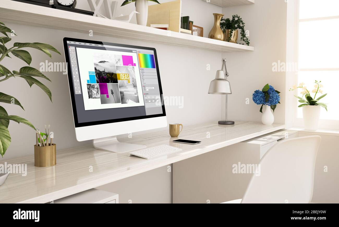 Graphic Design Home Office Setup 3d Rendering Stock Photo Alamy