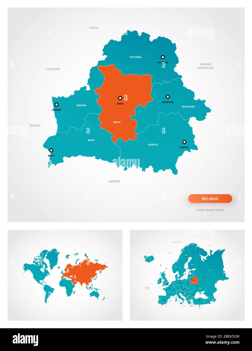 Picture of: Editable Template Of Map Of Belarus With Marks Belarus On World Map And On Europe Map Stock Vector Image Art Alamy