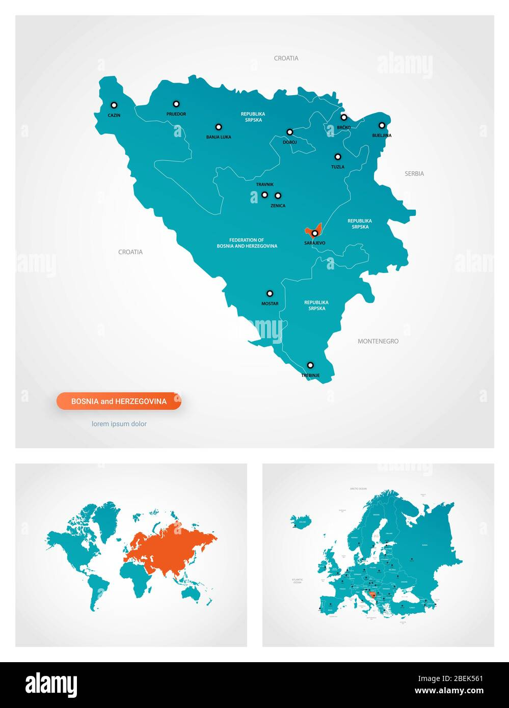 Picture of: Editable Template Of Map Of Bosnia And Herzegovina With Marks Bosnia And Herzegovina On World Map And On Europe Map Stock Vector Image Art Alamy