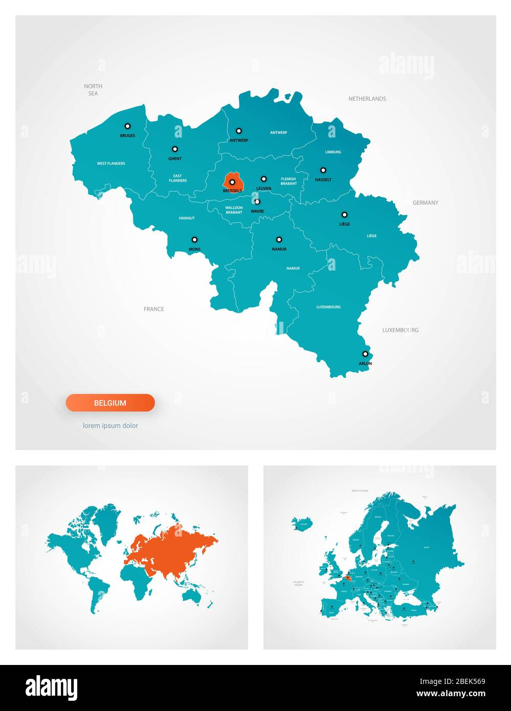 Editable Template Of Map Of Belgium With Marks Belgium On World Map And On Europe Map Stock Vector Image Art Alamy