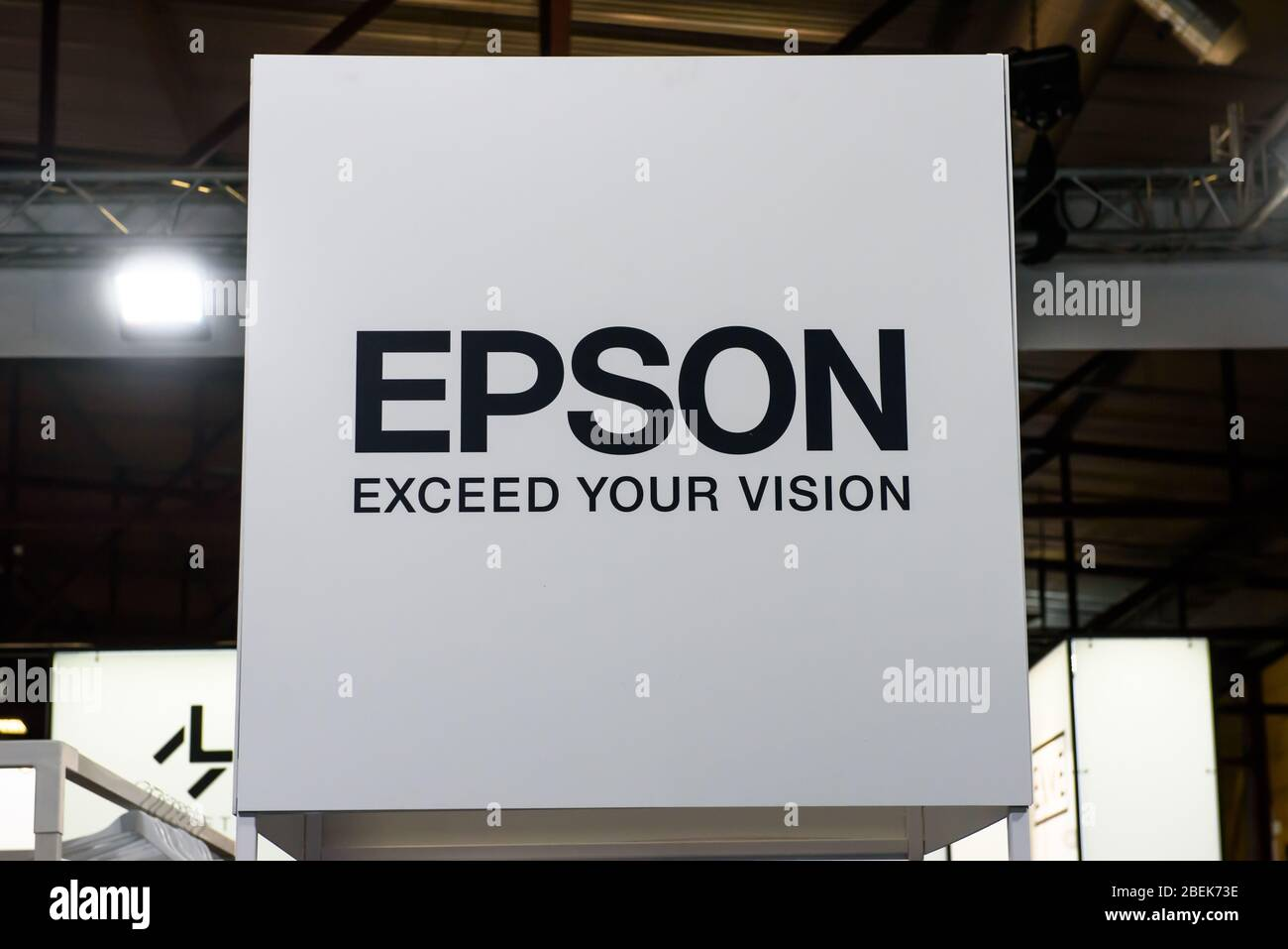RIGA, LATVIA. 10th October 2019. Logo of EPSON company. EPSON  is a Japanese electronics company and one of the world's largest manufacturers of compu Stock Photo