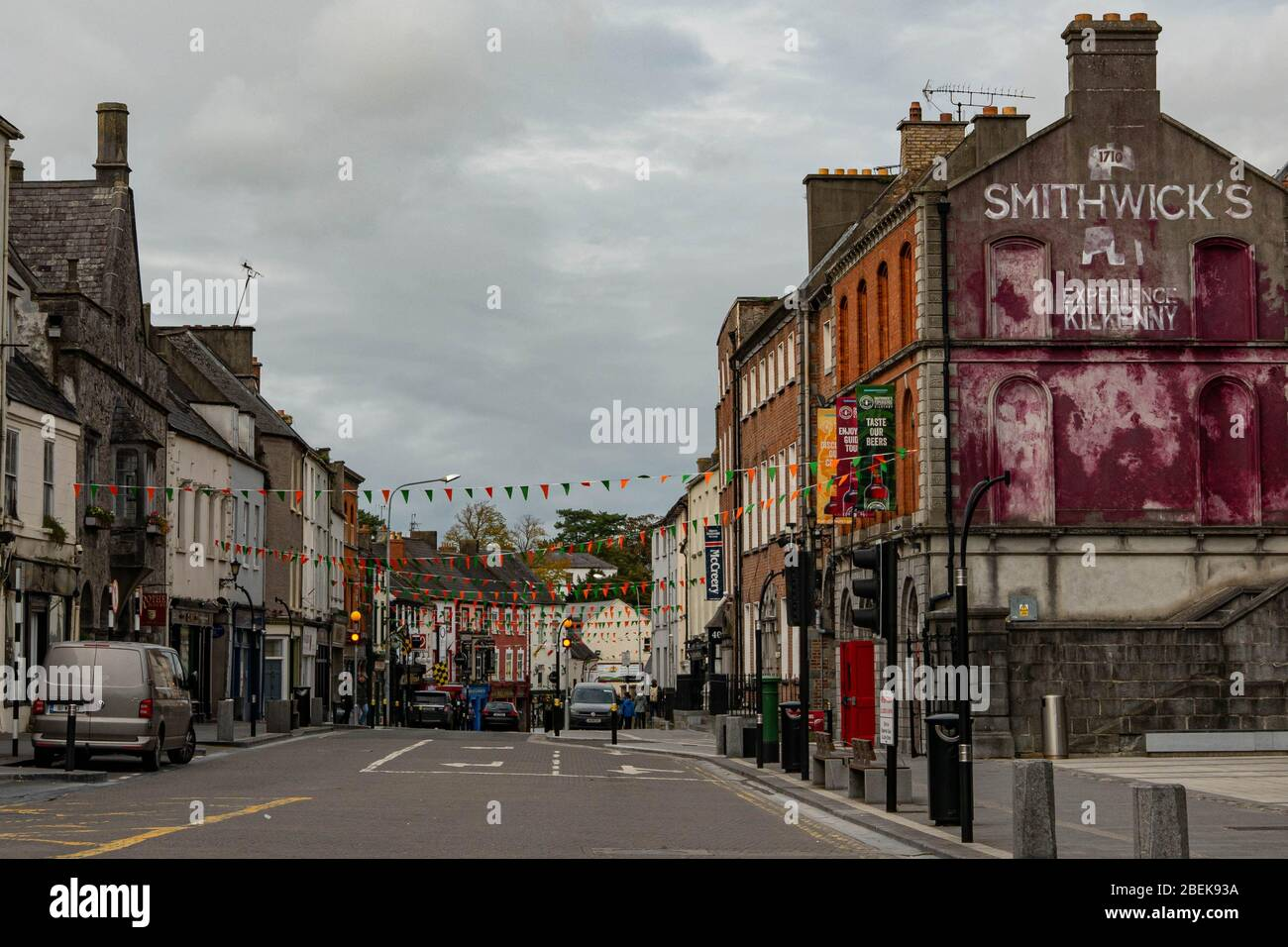 Parliament Street and Smithwicks Brewery in downtown Kilkenny, Republic of Ireland. Stock Photo