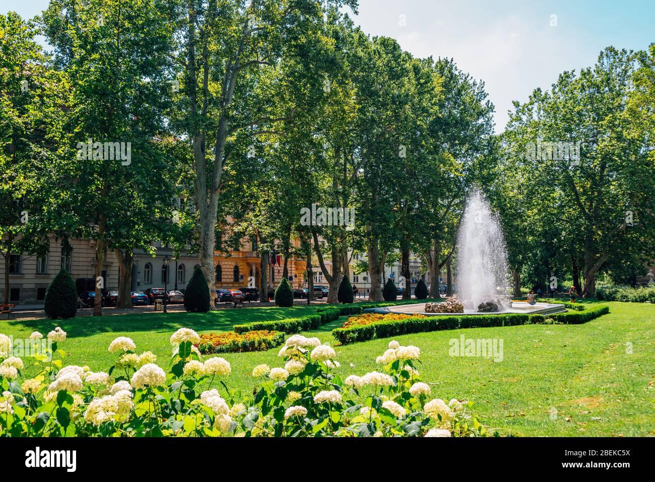 Zrinjevac Park At Summer In Zagreb Croatia Stock Photo Alamy
