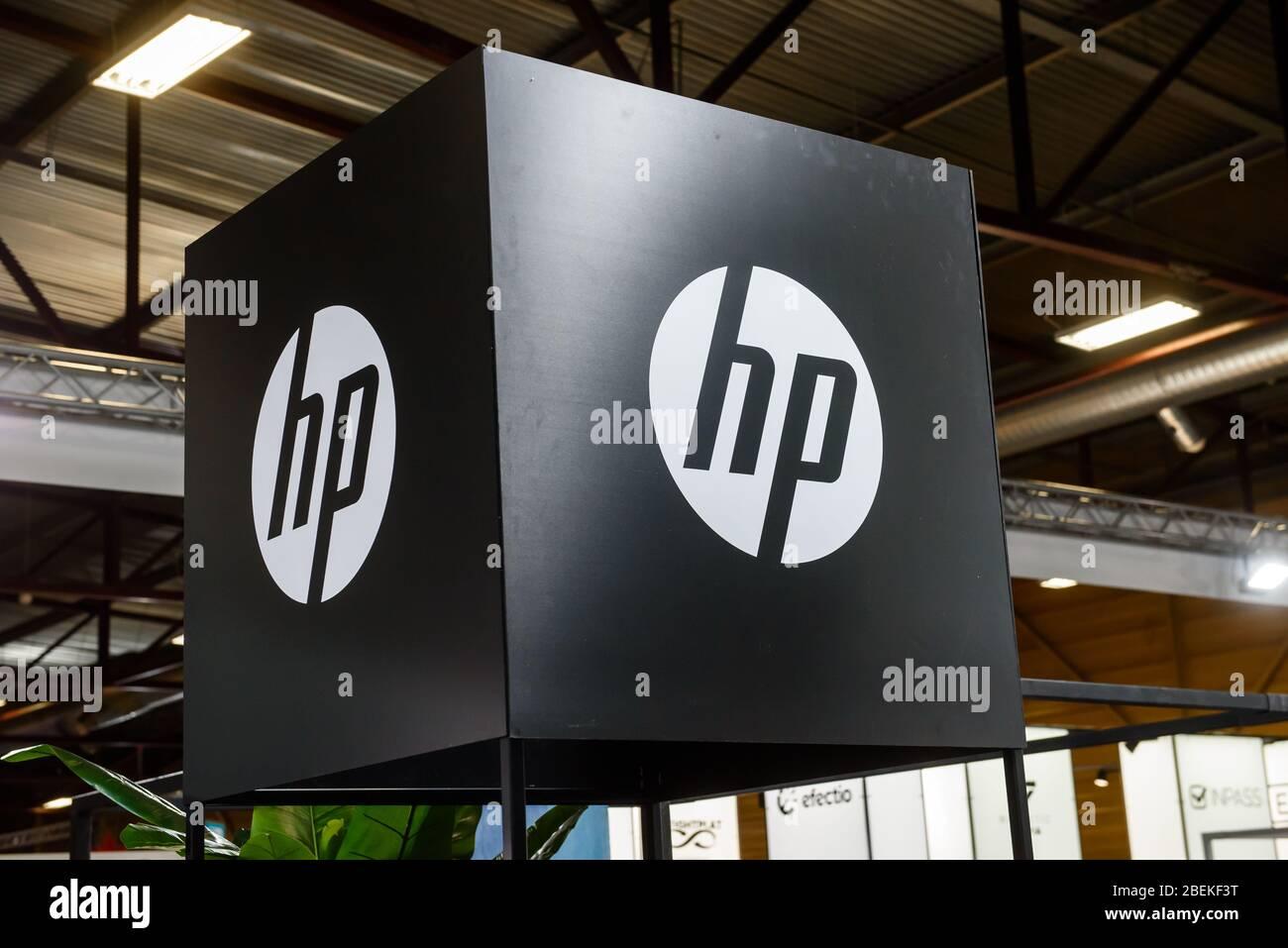 RIGA, LATVIA. 10th October 2019. Logo of HP company.  HP is an American multinational information technology company. Stock Photo