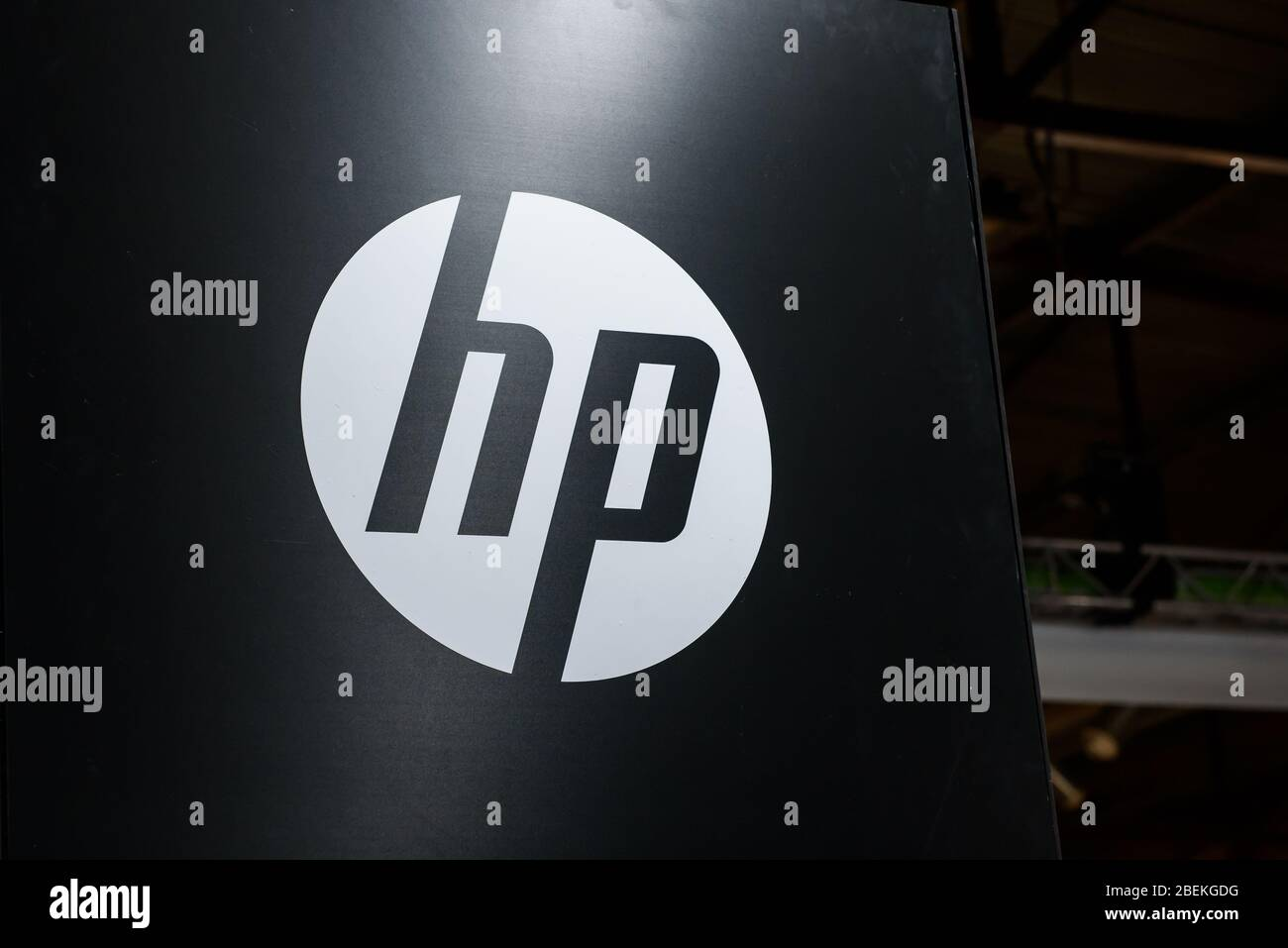 RIGA, LATVIA. 10th October 2019. Logo of HP company.  HP is an American multinational information technology company. Stock Photo