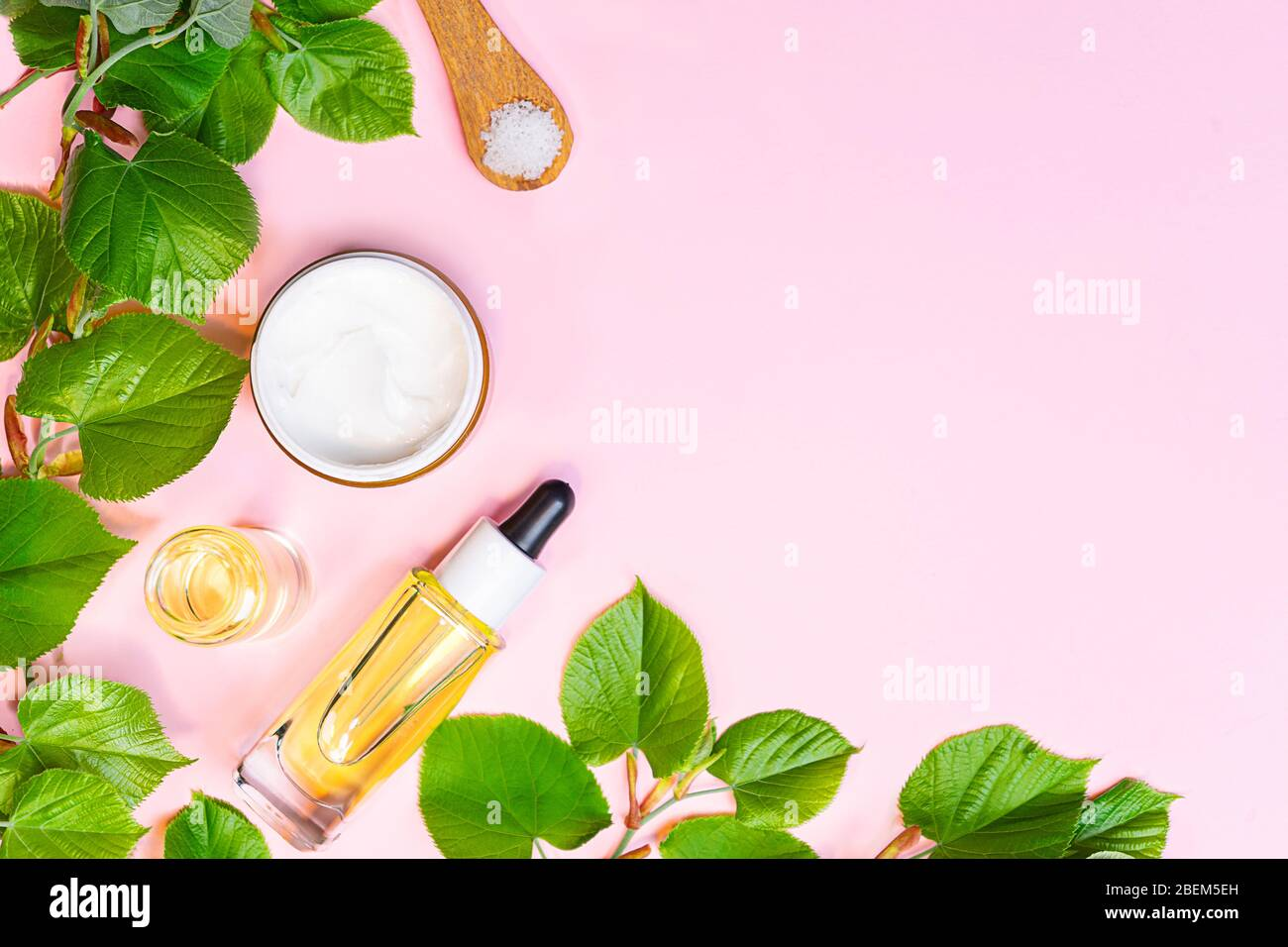 Skin Care Products Natural Cosmetic Flat Lay Image On Pink Background Natural Cosmetic Skincare Bottle Serum And Organic Green Leaf Homemade And Beauty Product Concept Stock Photo Alamy