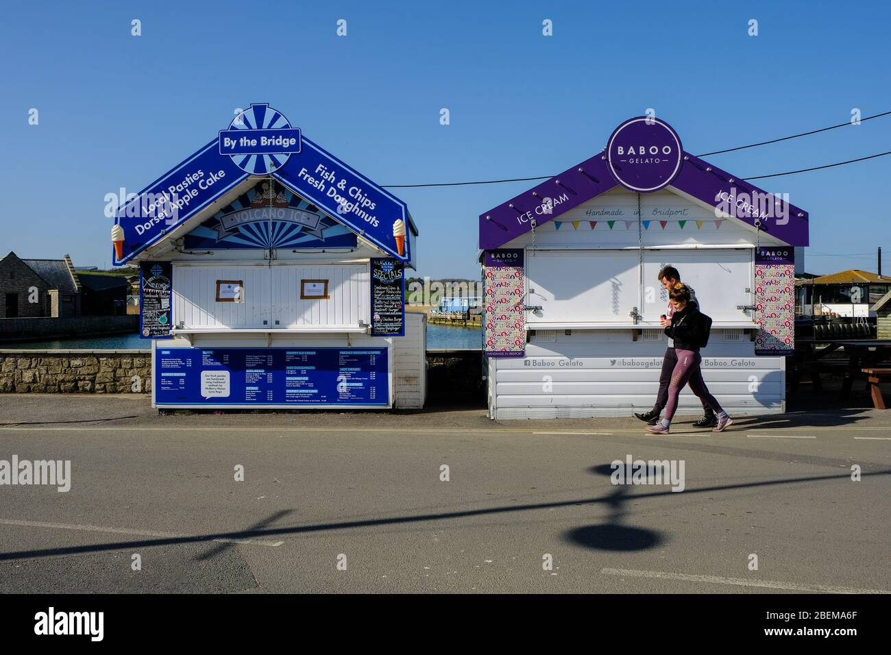 West Bay, Dorset, UK. 14th Apr, 2020. As the Coronavirus lockdown continues and tourist stay away from the normally crowded resort of West Bay the Office for Budget Responsibility says that the lockdown could shrink the GDP by 35%. Credit: Tom Corban/Alamy Live News Stock Photo