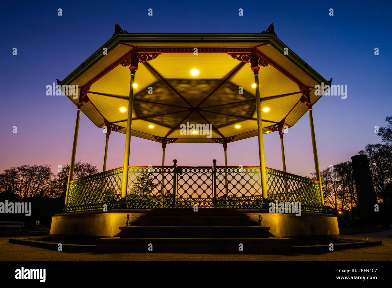 Victorian Bandstand in the Royal Pump Rooms Gardens, Royal Leamington Spa, one month after its 2019 refurbishment, completed in March 2020. Stock Photo
