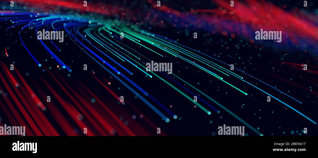 Abstract background colorful lines, communication technology concept, 3d illustration Stock Photo