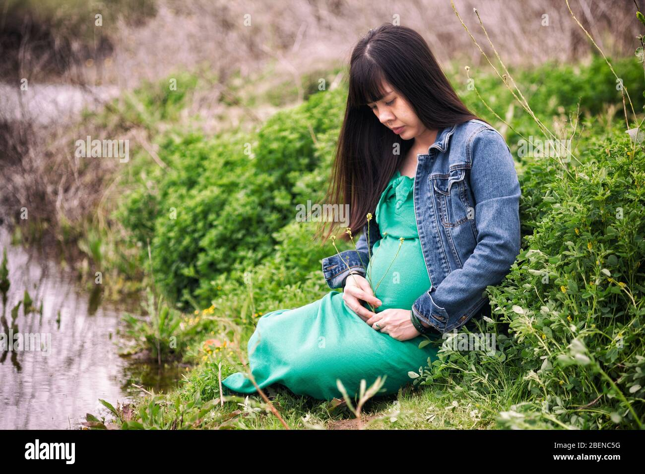 Beautiful pregnant young Asian woman with long black hair wearing a green dress and blue denim jacket holding her belly as she sits in a green field Stock Photo