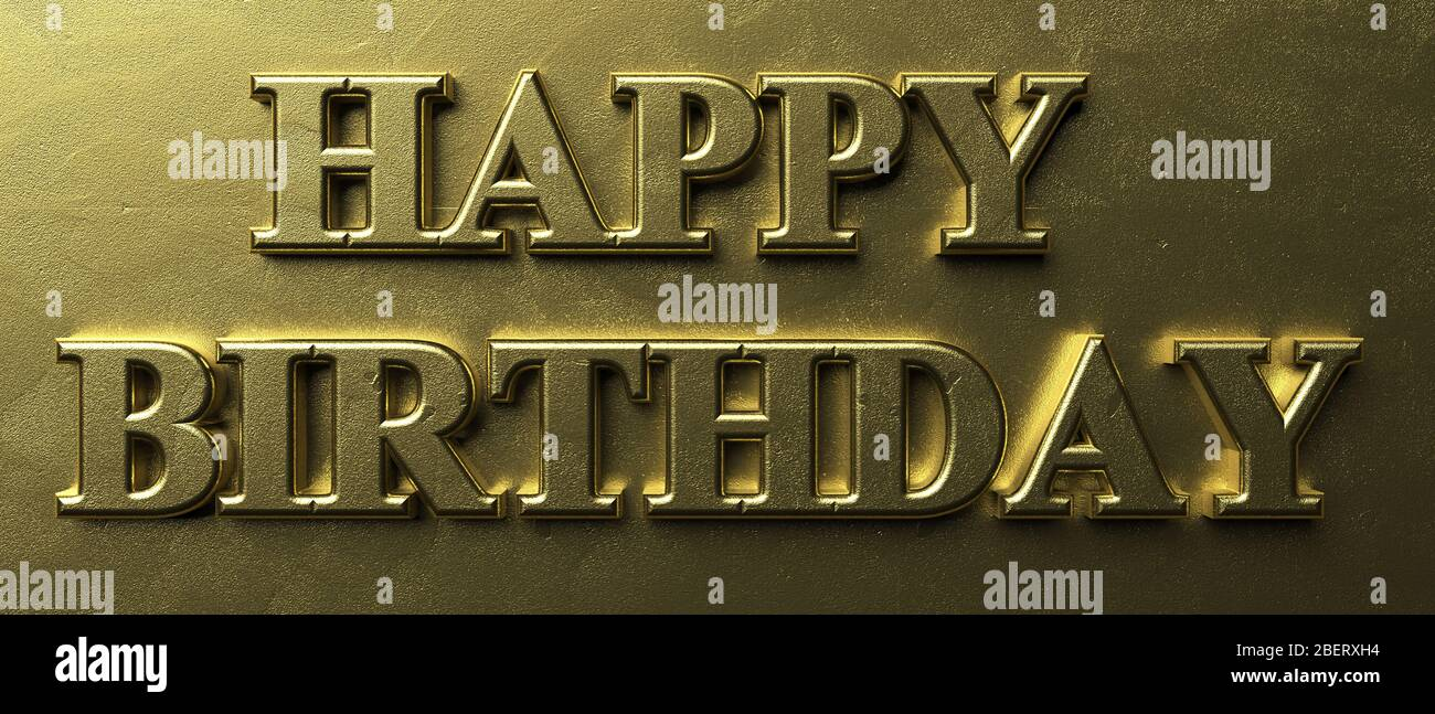 Happy birthday wishes. Inflated letters gold color text on luxury golden background. Message in greeting card. 3d illustration Stock Photo