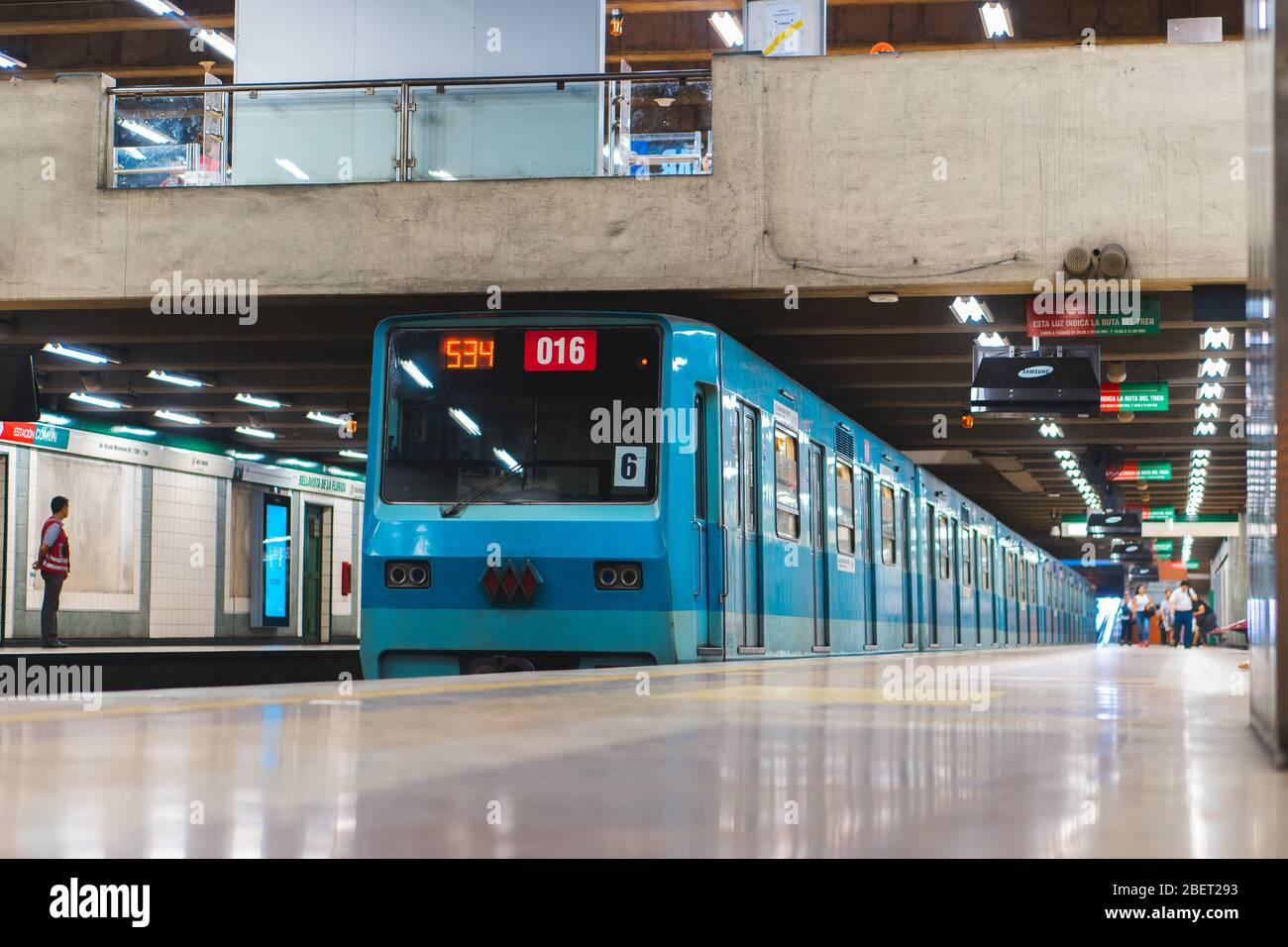 Santiago Chile January 2020 A Metro De Santiago Train At Line 5 Stock Photo Alamy