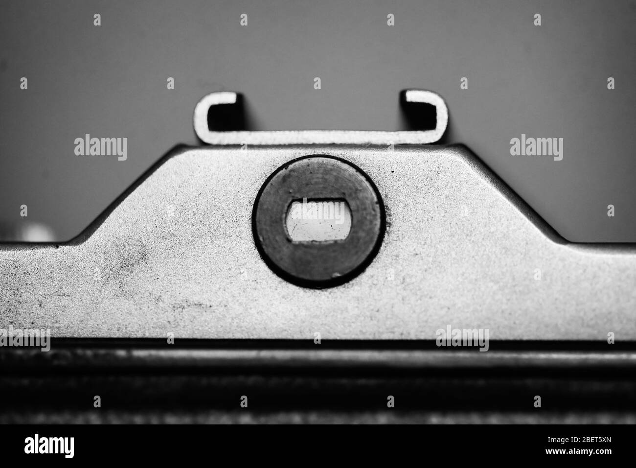 Black and white details with the viewfinder and back of an old, film photo camera. Stock Photo