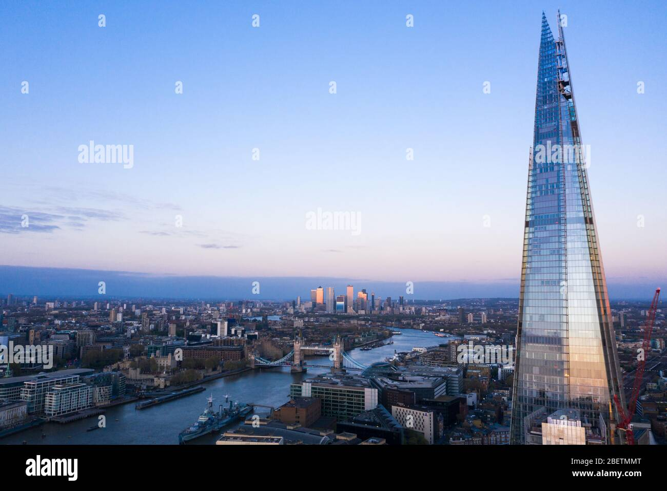 London Shard Aerial view of Town house and London Bridge Stock Photo