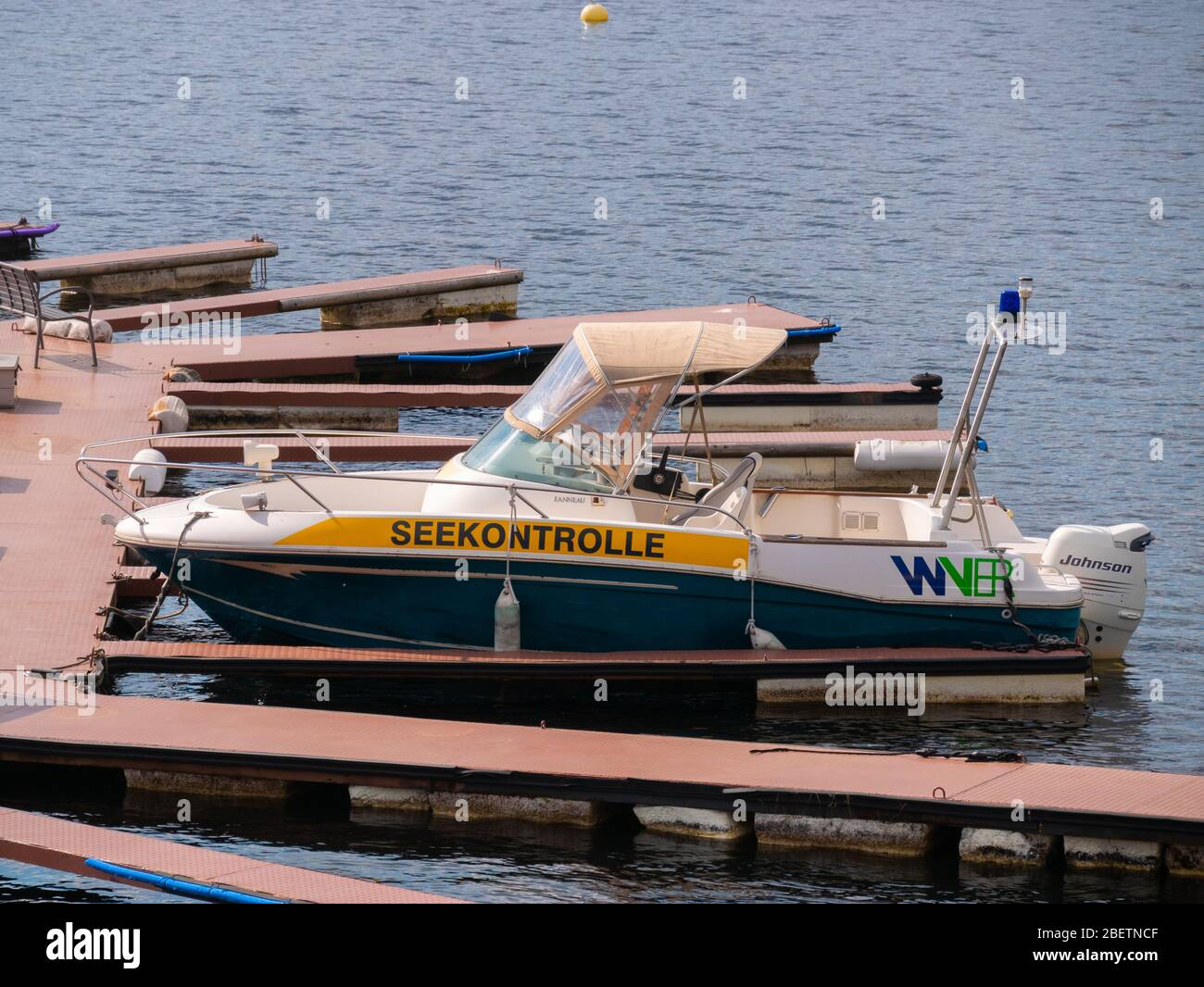 The jetties of a rental for leisure boats on the Rursee are deserted because of the corona crisis, Schwammenauel, Eifel, Germany. Stock Photo