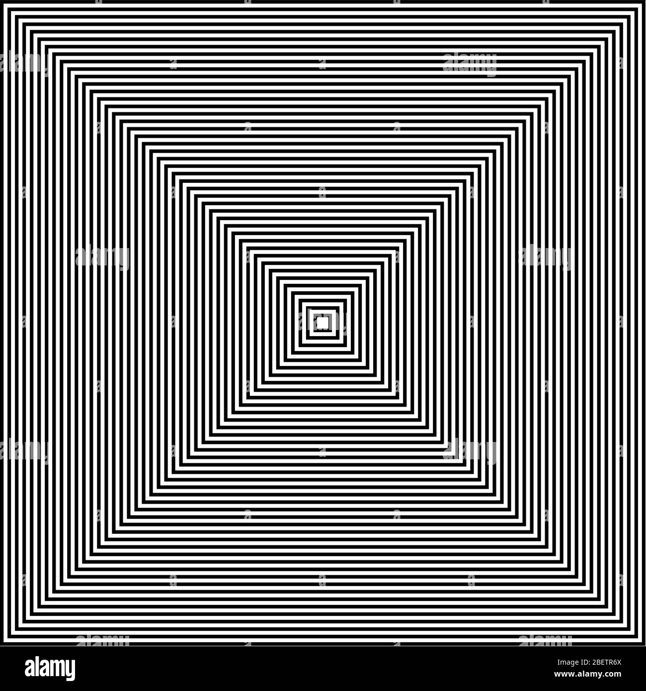 Black and white lines abstract square optical art Stock Vector