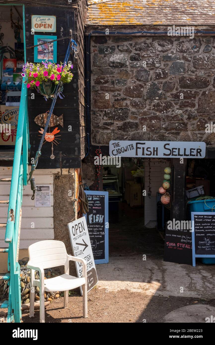The Fish Seller shop in Cadgwith Cove, unspoilt viallge on the Lizard peninsula in Cornwall Stock Photo