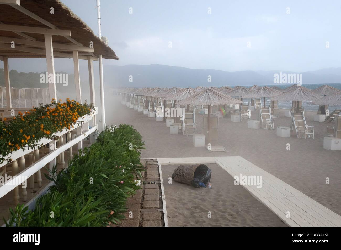 STRANDBAR IM STURM Stock Photo