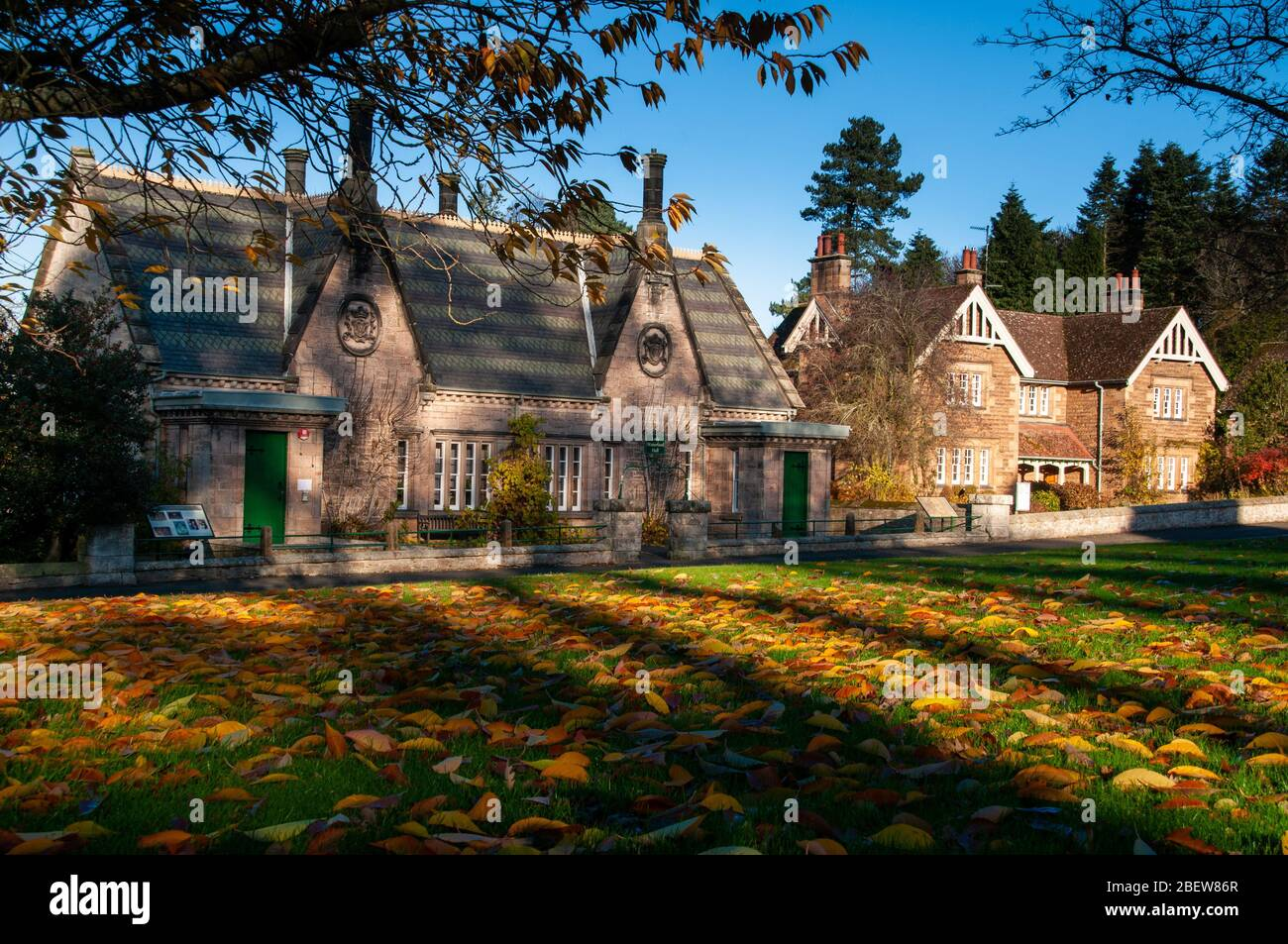 Lady Waterford Hall part of the model village of Ford in North Northumberland on the Ford and Etal estate Stock Photo