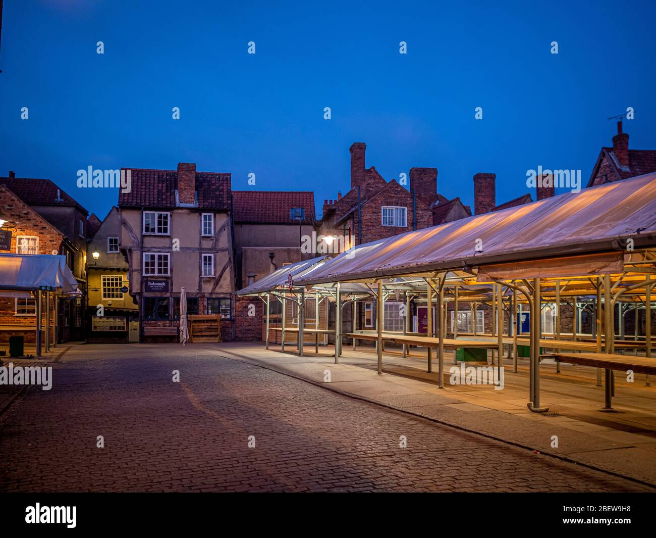 Shambles Market York City Centre Early Evening Empty Due To Covid 19 Lockdown Uk Stock Photo Alamy